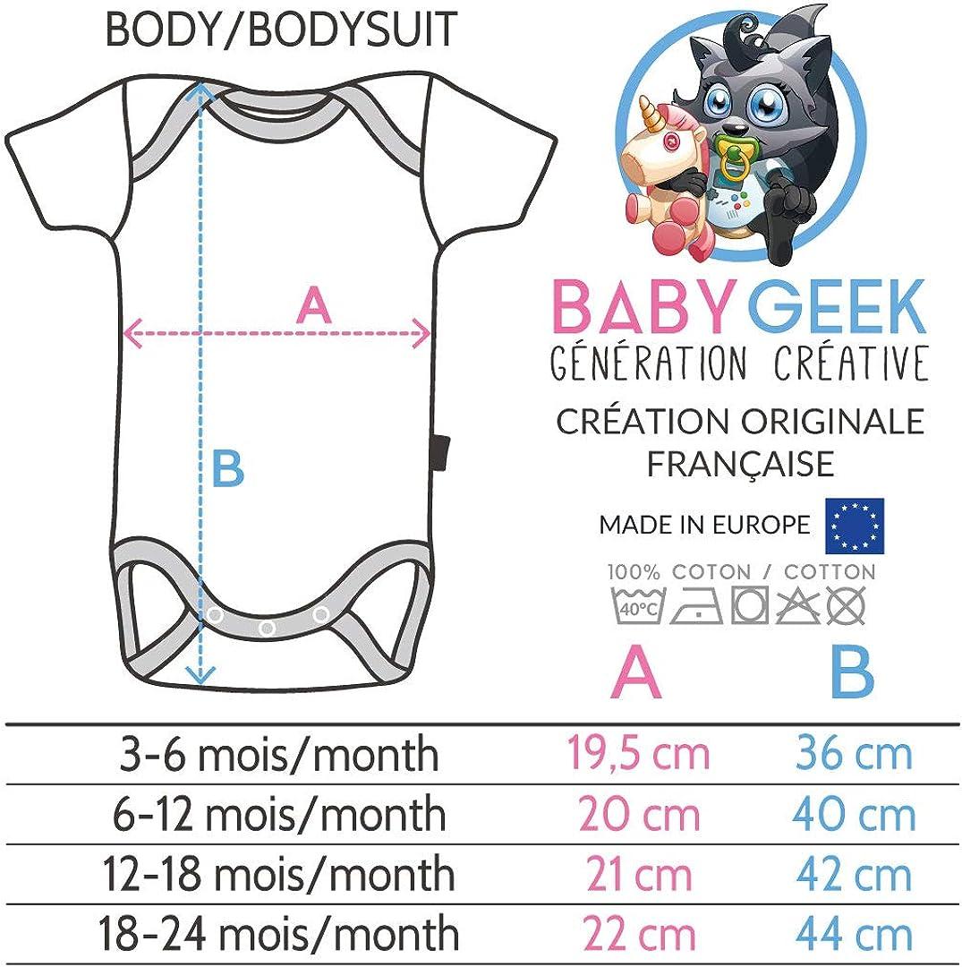 Baby Geek Futur DPS comme Papa Blanc Coton Coutures Grises - Body B/éb/é Manches Courtes Version gar/çon