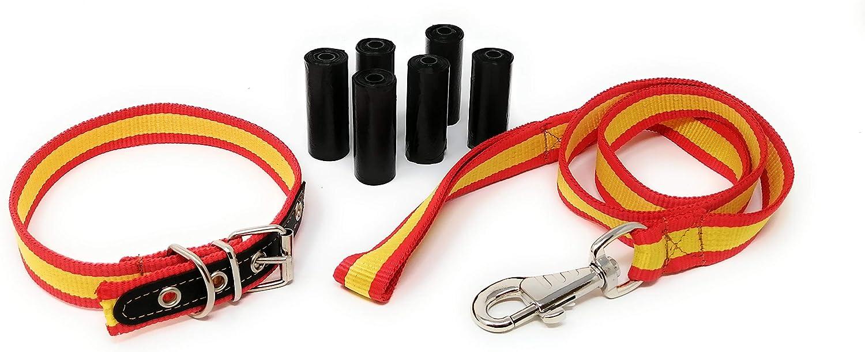 Lutila Collar + Correa de Perro + Bolsas para Caca | Colores Bandera de España (Color 1): Amazon.es: Productos para mascotas