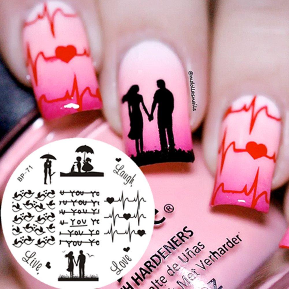 Born Pretty 5.5cm Rund Love Theme Nagel Kunst Schablone Stamping ...