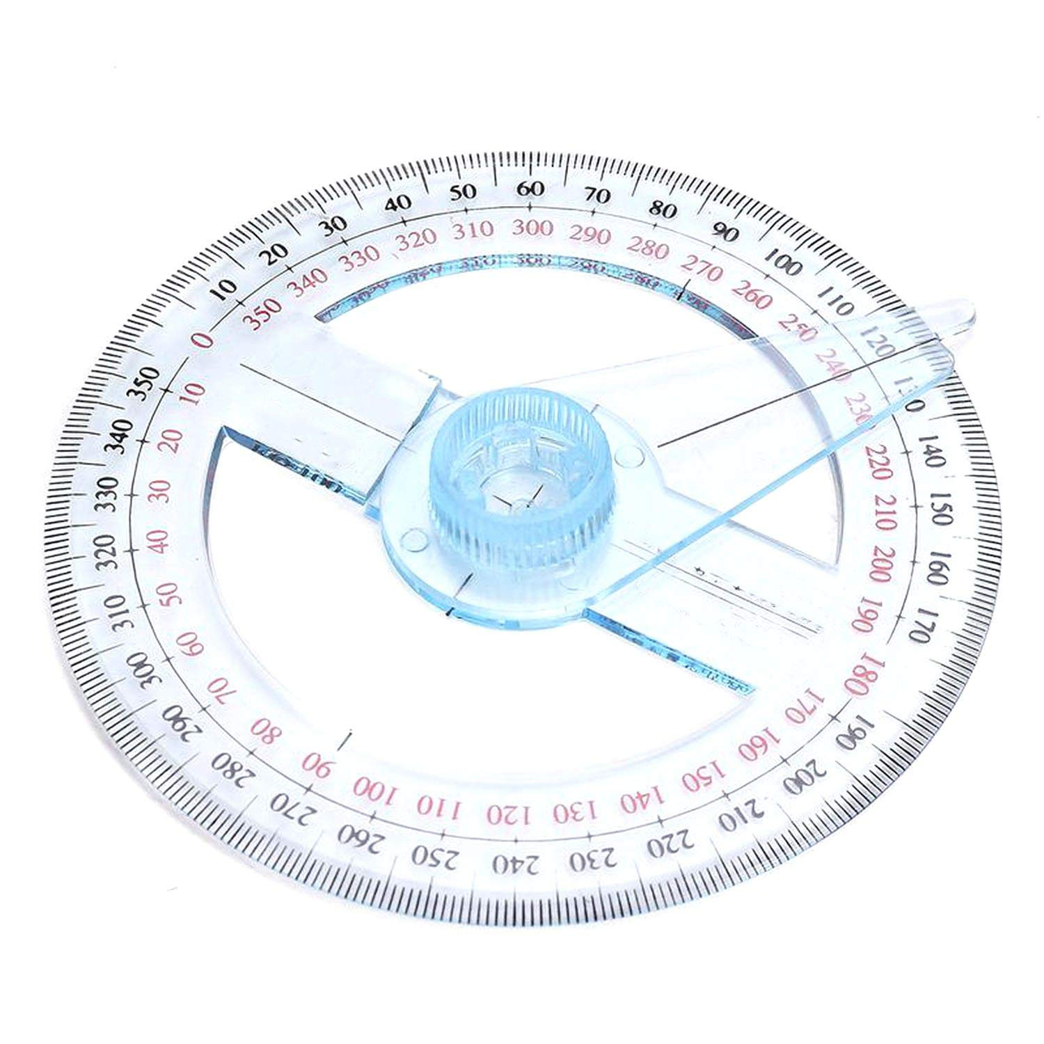 Portable Diameter of 10cm Plastic 360 Degree Pointer Protractor Ruler Angle Swing Arm for School Office Supplies,1 Pc by lucky-eye