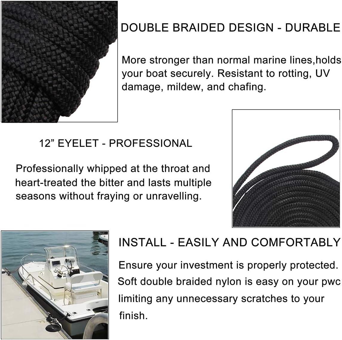 Mooring Rope 12 Eyelet Boat Ropes Marine Rope Premium Boating Anchor Docking Line Boat Accessories Docking Lines Double Braided Nylon
