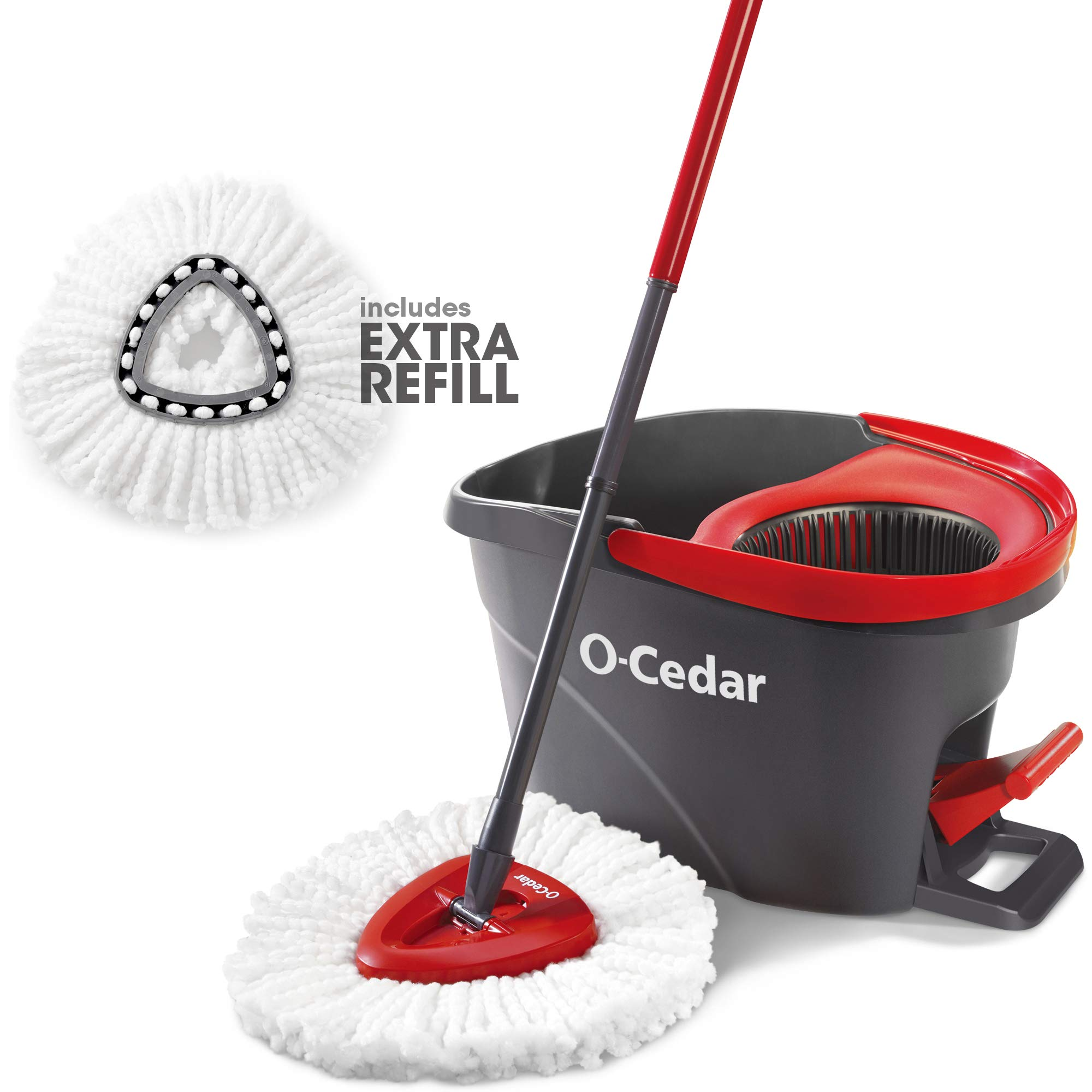O-Cedar Easywring Microfiber Spin Mop & Bucket Floor Cleaning System with 1 Extra Refill by O-Cedar
