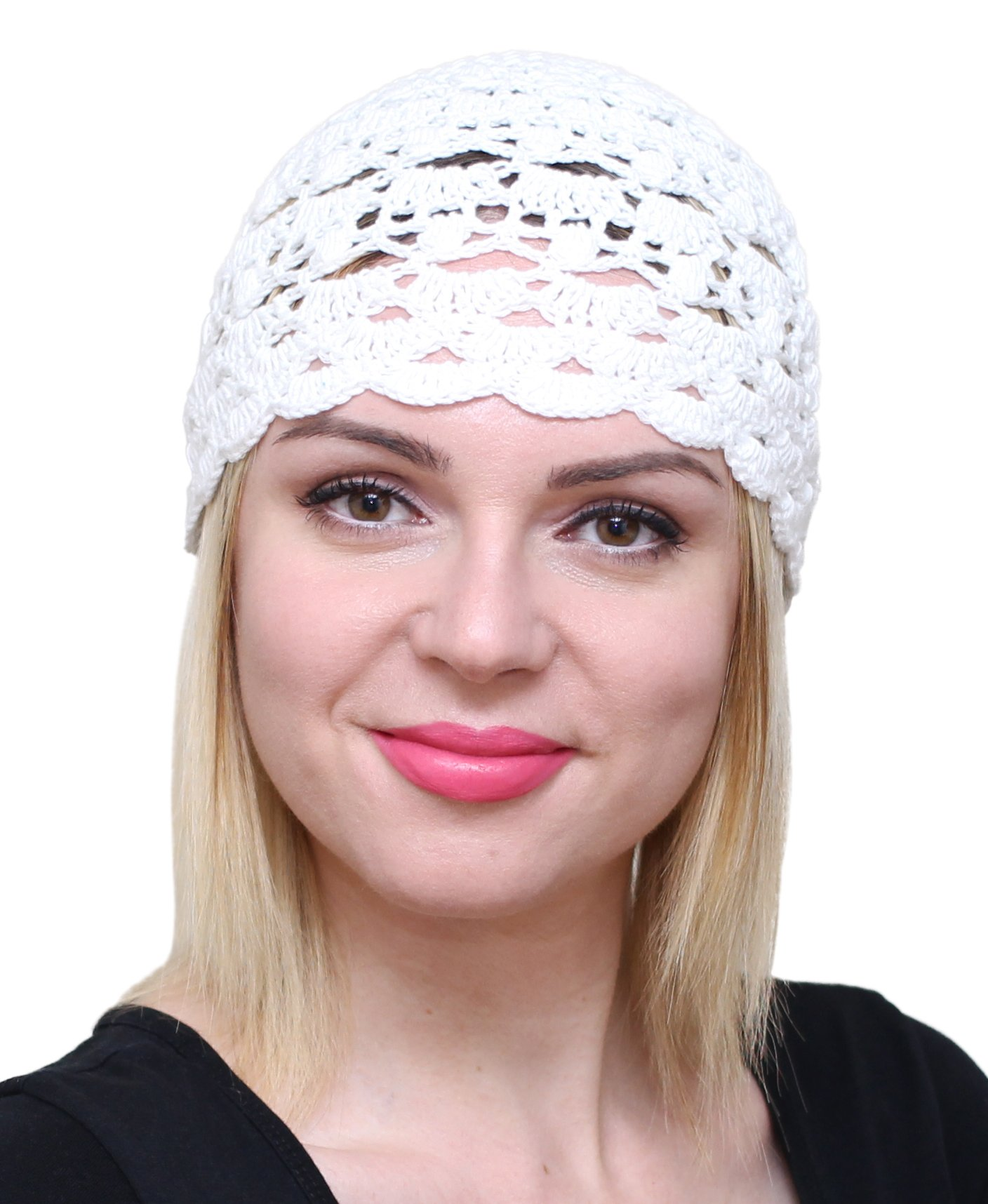 NFB Fascinator Hats for Women Ladies Summer Beanie Cotton Cloche Crochet caps (White)