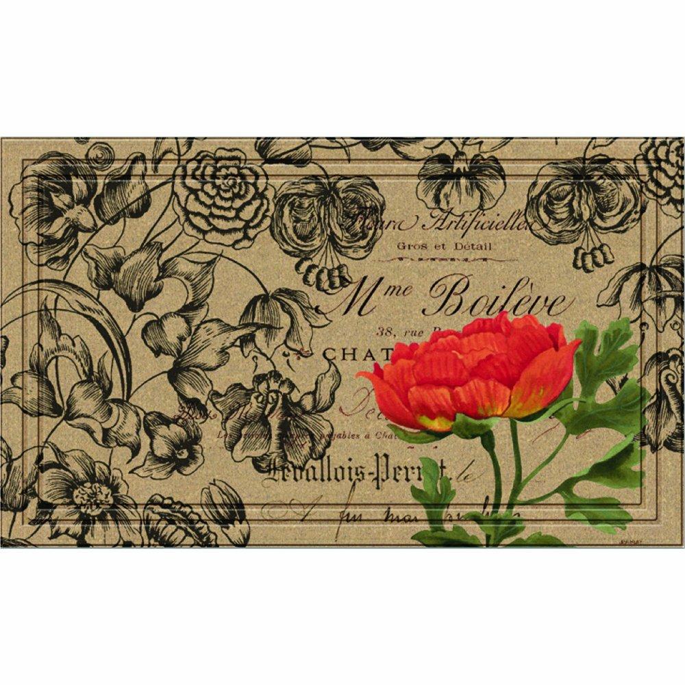 Amazon.com : Naturelles Vintage Floral Peony Door Mat, 18-Inch by ...