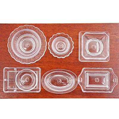 Odoria 1:12 Miniature 12PCS Clear Tableware Set Cookware Kit Plate Dish Bowl Dollhouse Kitchen Accessories: Toys & Games