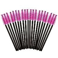 Merryoung 100 Pcs Disposable Mascara Wands Eye Lash Eyelash Curlers Eyebrow Brushes, Rose Head with Black Handle