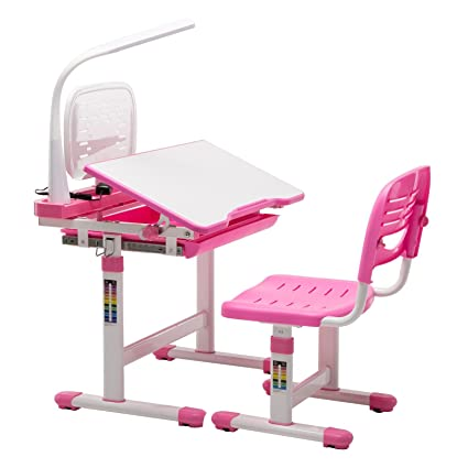 Mecor Childrenu0027s Desk Chair Set Height Adjustable Kids Student School Study  Table Work Station With Lamp