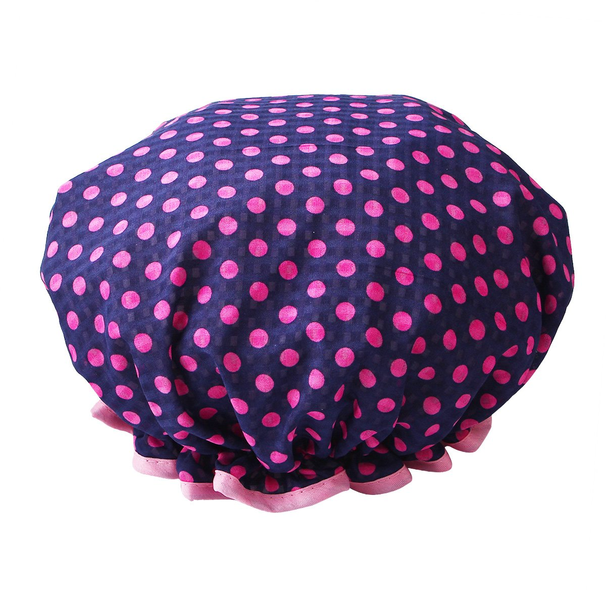 HiCollie Womens Cute Polka Dot Printed Double Layer Waterproof Shower Cap, Navy by Hicollie