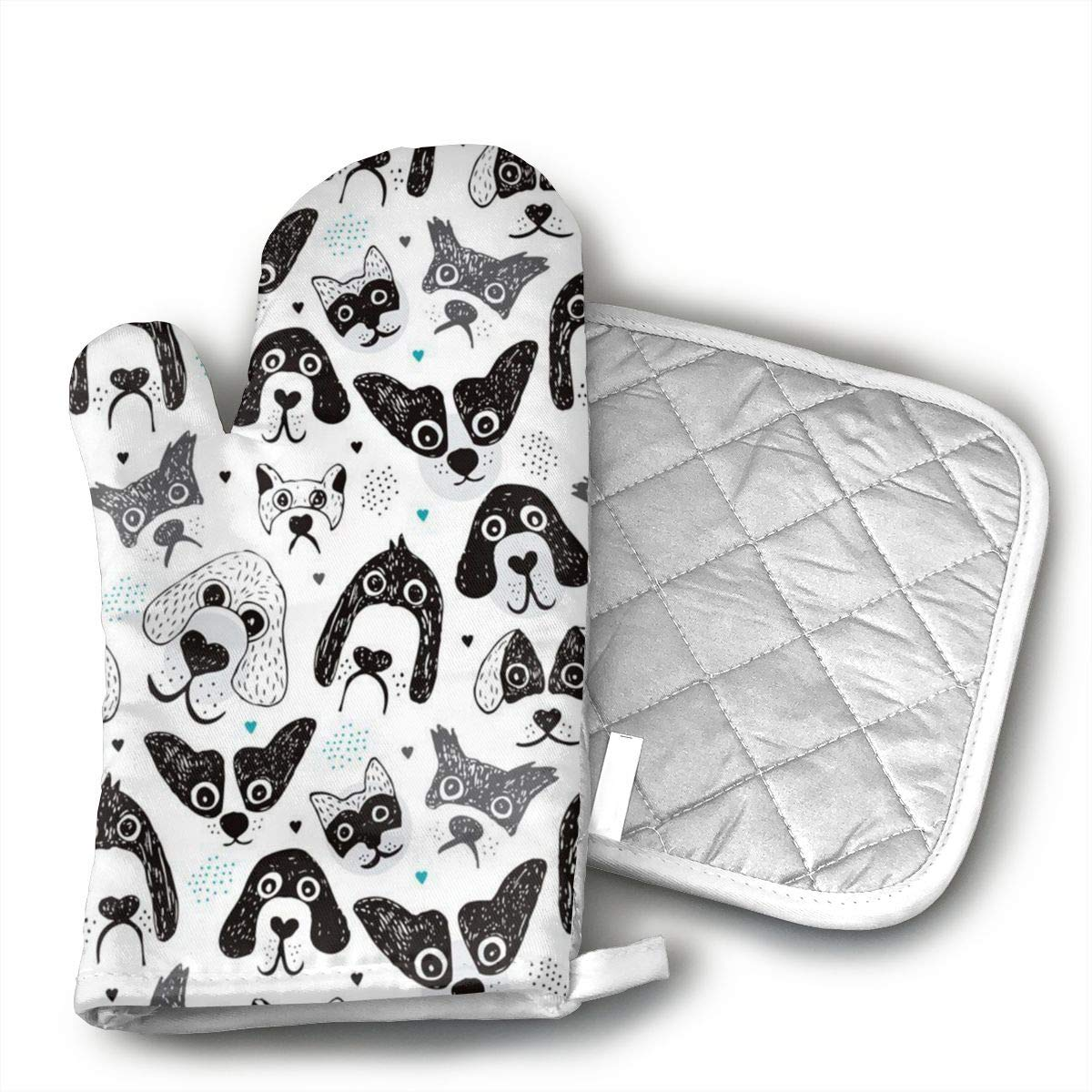 I Love Big Silly Dogs Heat Resistant Oven Mitts + Cotton Pot Holders Non Slip Oven Gloves for Kitchen Cooking Baking, BBQ, Grilling Machine Washable