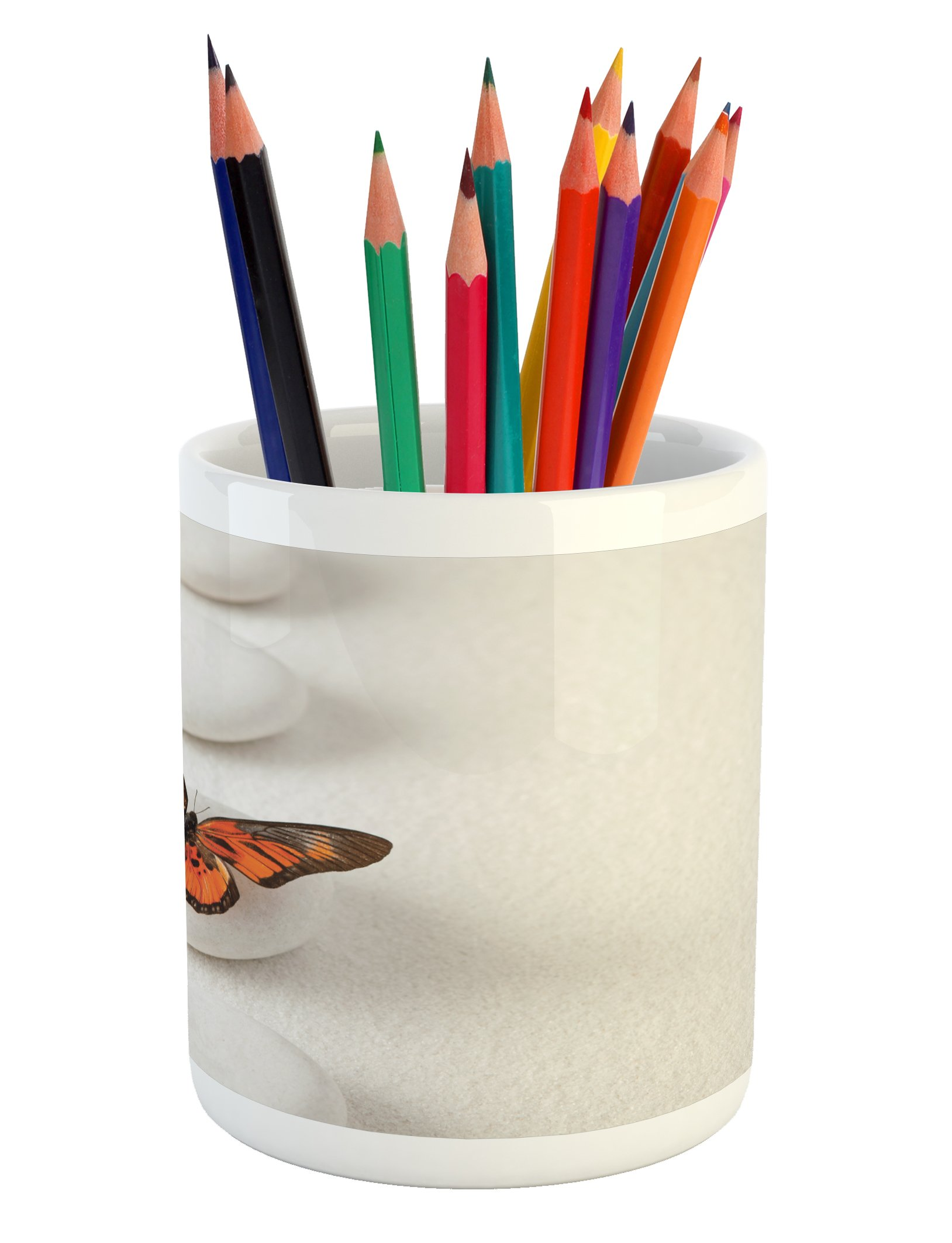 Ambesonne Spa Pencil Pen Holder, Plain Pattern with Butterfly and Rocks Wellness Purity Healing Serenity Bohemian, Printed Ceramic Pencil Pen Holder for Desk Office Accessory, White Orange