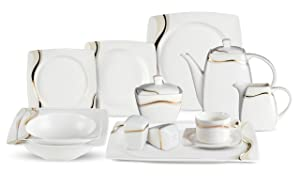 Lorenzo 57 Piece Elegant Bone China Service for 8 Dora Dinnerware Sets, Gold
