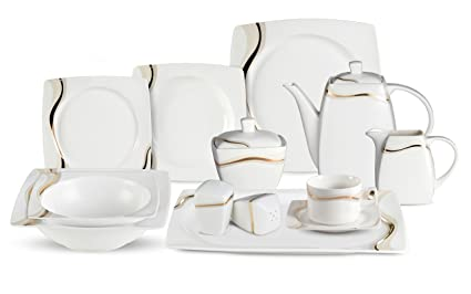 Lorenzo 57 Piece Elegant Bone China Service for 8 Dora Dinnerware Sets Gold  sc 1 st  Amazon.com & Amazon.com | Lorenzo 57 Piece Elegant Bone China Service for 8 Dora ...