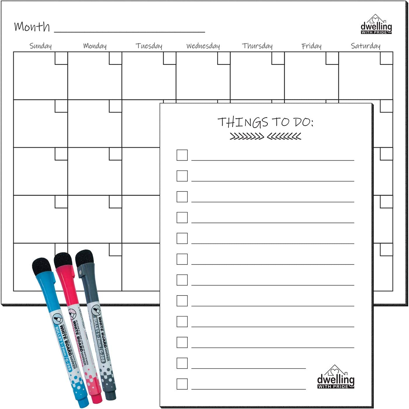 Magnetic Whiteboard for Refrigerator - Magnetic Dry Erase Board - Fridge Magnet Whiteboard - with 3 Magnetic Pens and to-Do List (White, Calendar)