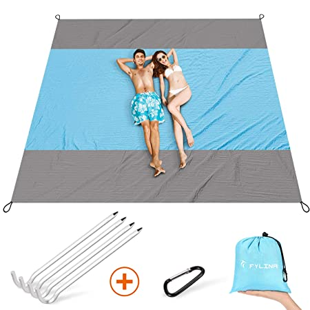 FYLINA Sand Free Beach Blanket Oversized Waterproof Blanket Mat 7x9ft – Quick Drying Nylon Compact Outdoor Picnic Beach Mat Ideal for Travel, Hiking, Camping with Weightable Pockets 4 Anchor Stakes