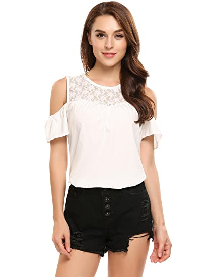 b784f4677df6d1 Zeagoo Women s Sexy Lace Splice Blouse Slim Fit Cut Out Shirt Round Neck  Ruffle Sleeve Solid