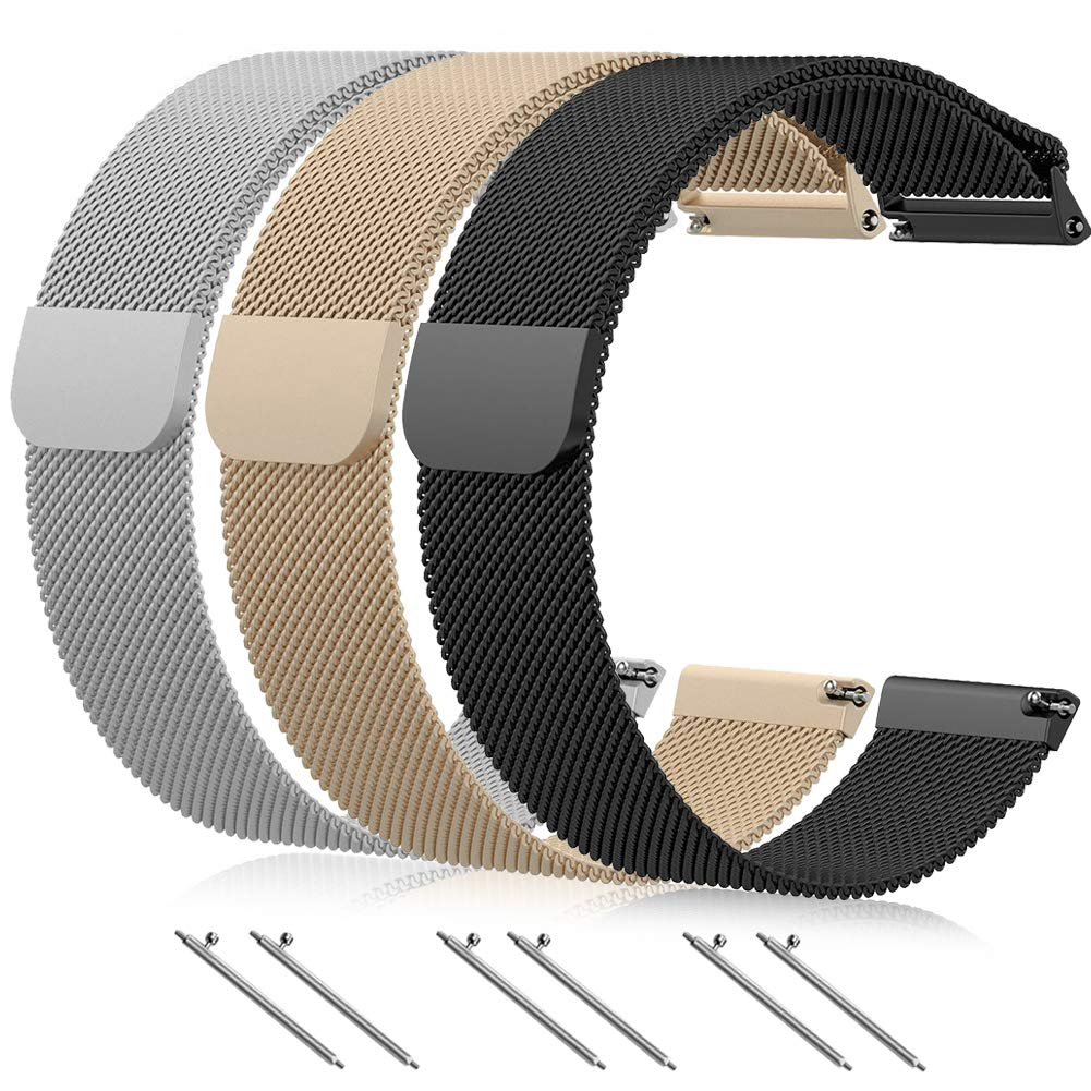 BRIGTLAIFF Compatible Fitbit Versa Bands, Milanese Smart Watch Band Replacement Metal Mesh Loop Wristbands Stainless Steel Accessories Bracelet Straps for Women Men, Multi-Colors, 3PACK, Small