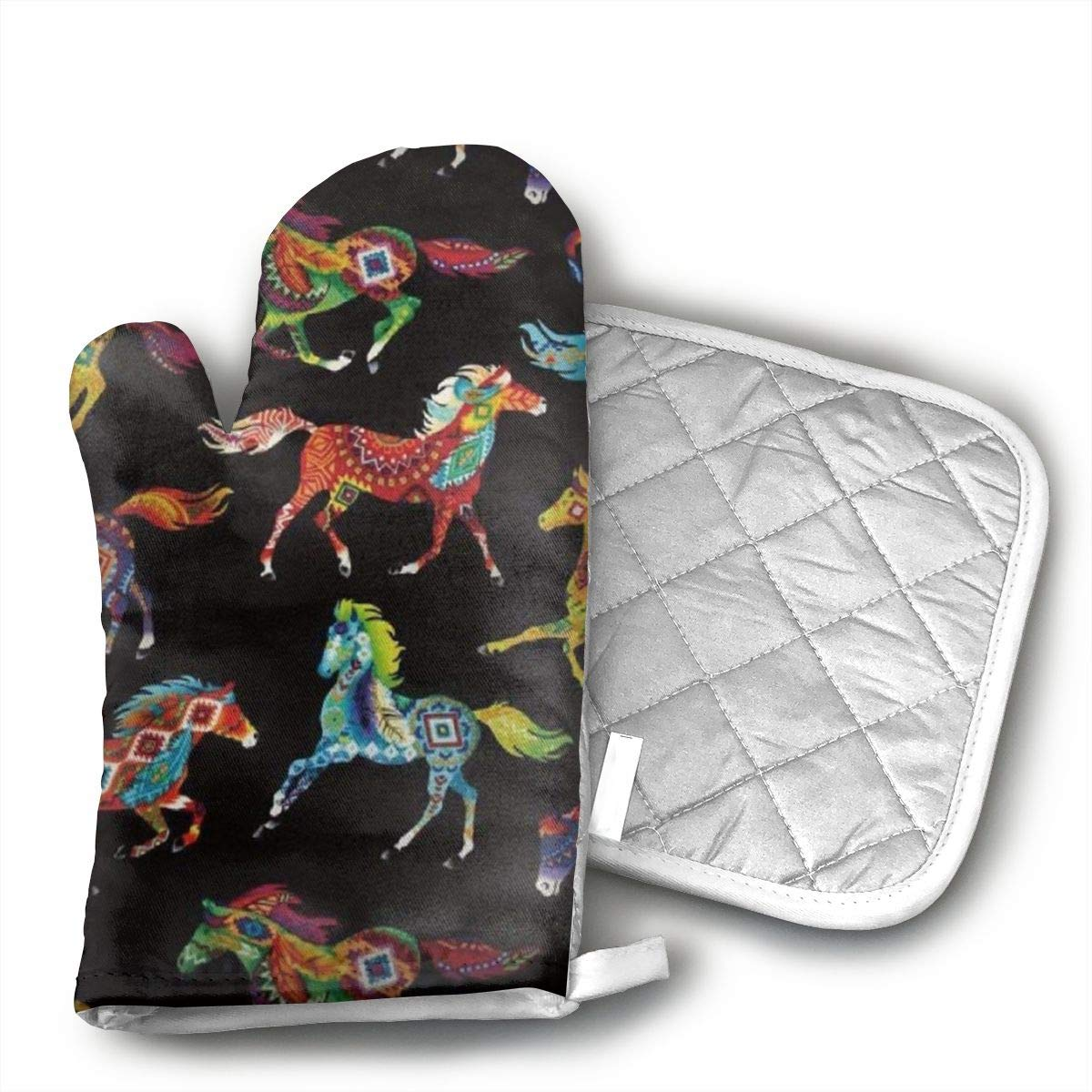 QEDGC Out West Southwest Horses Brite Oven Mitt and Pot Holder or Oven Gloves-100% Cotton, High Heat Resistance,