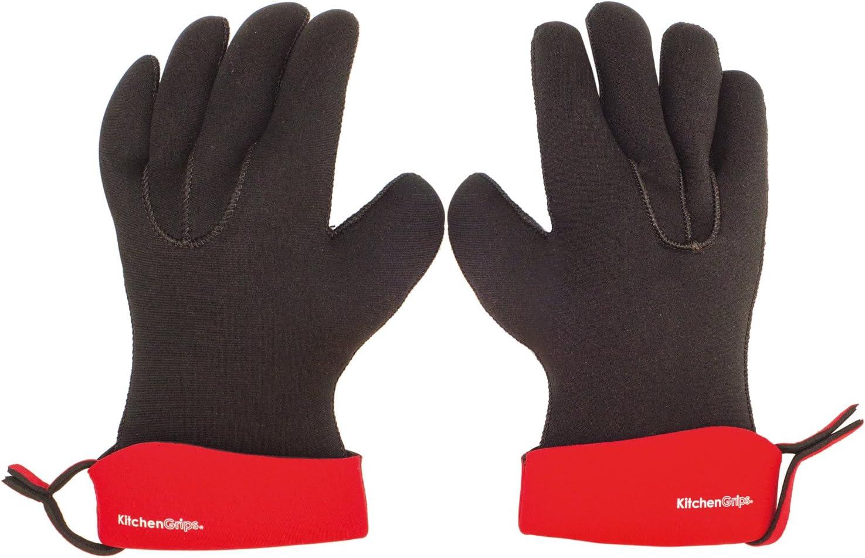 "KitchenGrips 2 Piece Chef's Glove Set, Large/11"", Cherry"
