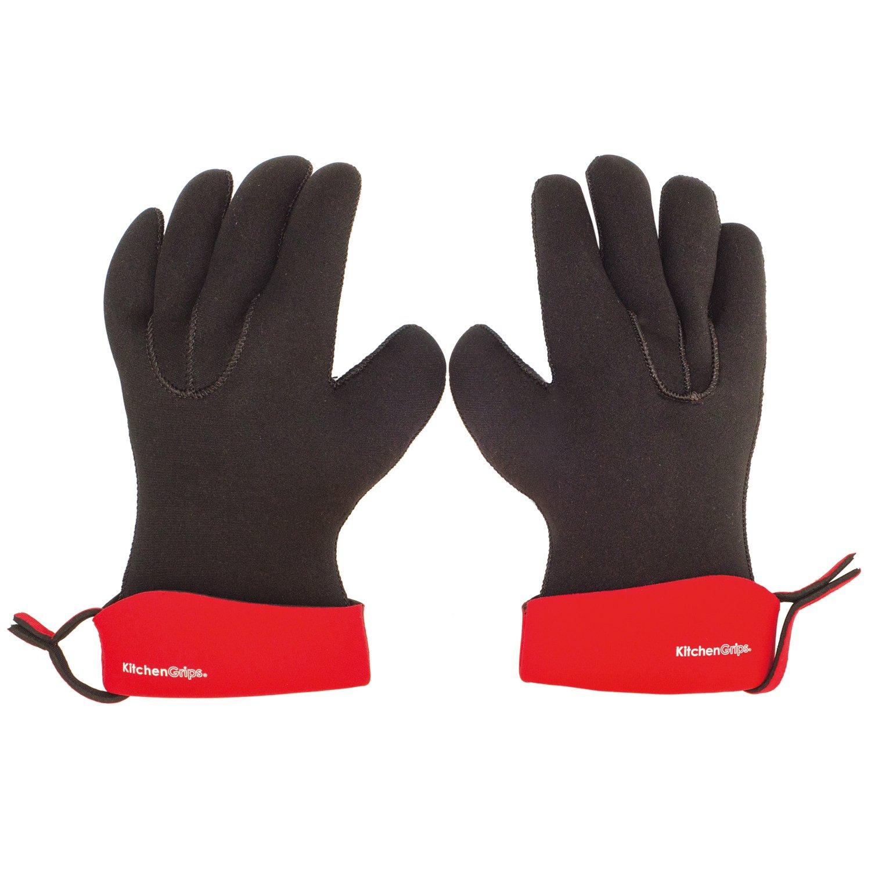 "KitchenGrips 2 Piece Chef's Glove Set, Small/10.25"", Cherry"
