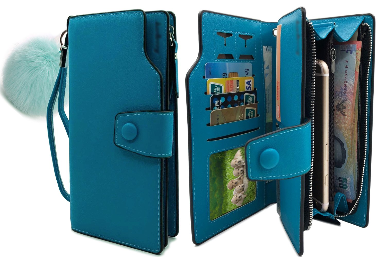 Wallet-NEWANIMA Women Multi-card Two Fold Long Zipper Clutch Purse (Style3-Skyblue)