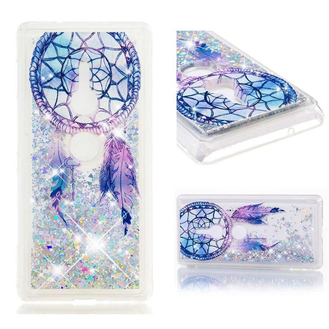 Cover Sony Xperia XZ2, Lyzwn 3D Glitter Liquido Sabbie Mobili Trasparente Morbido TPU Silicone Custodia per Sony Xperia XZ2 Brillantini Sequin Posteriore Protettiva Case