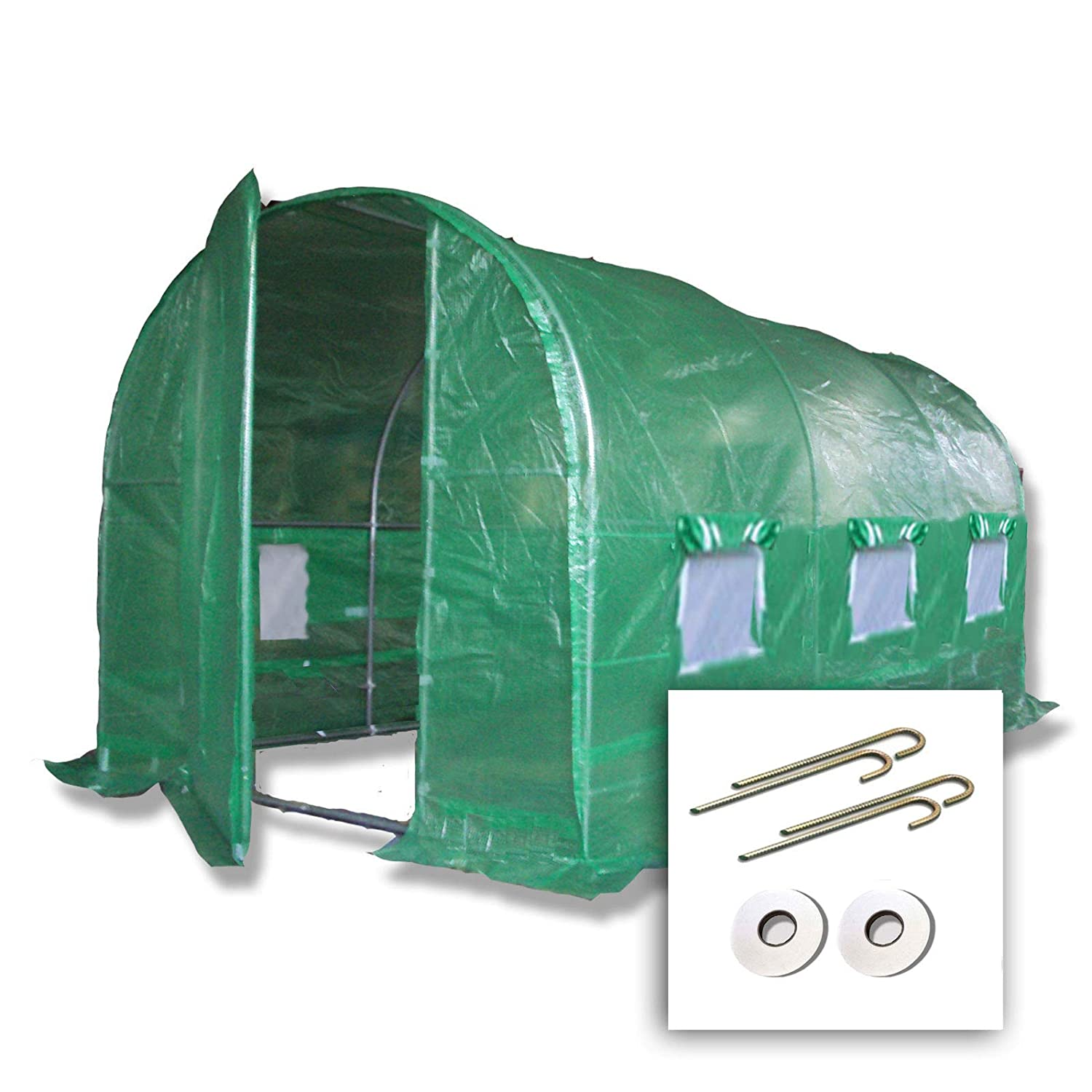 4m x 2m + Ground Anchor Kit Choose 3m x 2m, 4m x 2m or 3m x 6m Polytunnel + Ground Anchor Kit.  Strongest In It's Class  a fully Galvanised Structure with more internal bracing than all others  Metal Hinged Door   Groundbar Kit. (4m x 2m + Kit)