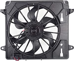 Cooling Fan Assembly Compatible with JEEP WRANGLER (JK) 2007-2011 Single Fan with Resistor