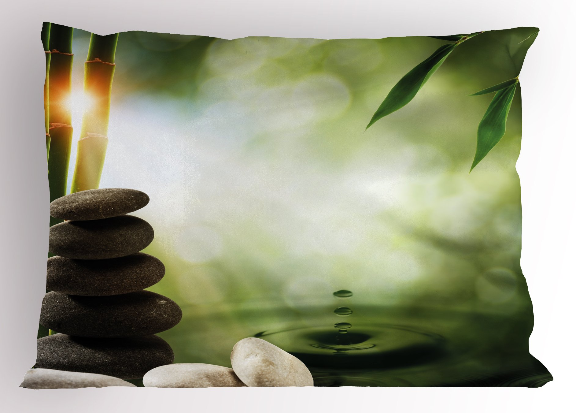 Ambesonne Tropical Pillow Sham, Abstract Eco Background with Bamboo Tree Water Splash Bubbles and Spa Stones, Decorative Standard Size Printed Pillowcase, 26 X 20 inches, Green Grey White