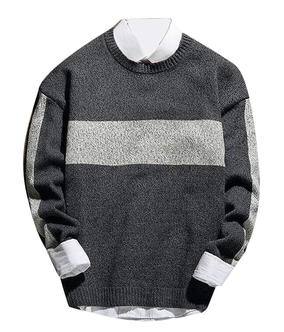 KLJR Men Casual Long Sleeve Crewneck Contrast Color Knitwear Sweater
