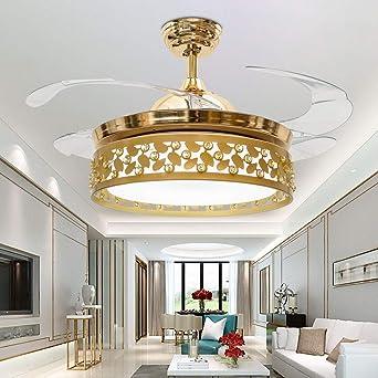 RS Lighting - Lámpara de techo invisible con aspas retráctiles para dormitorio, comedor, sala de estar, ventilador de techo, ventilador de techo, lámpara de araña: Amazon.es: Iluminación