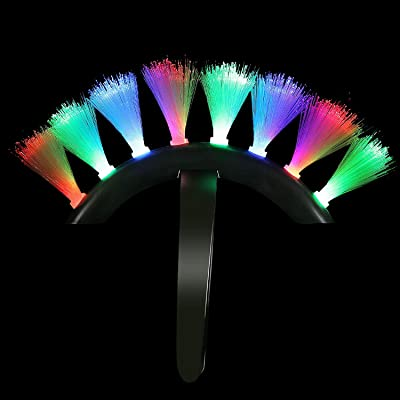 Fun Central LED Light Up Fiber Optic Mohawk Wig Headband for Women & Men: Toys & Games