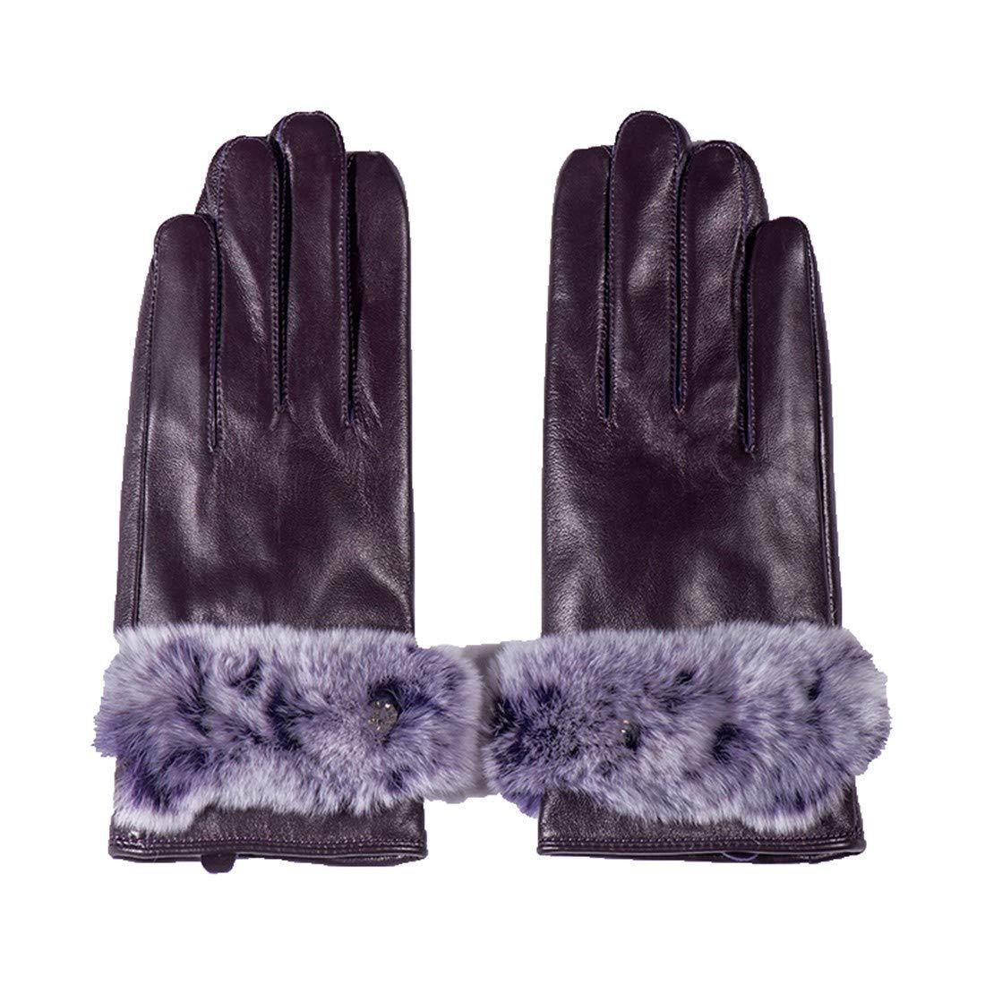 BYMHH Lederhandschuhe Herbst und Winter Schaffell Handschuhe, lila, M