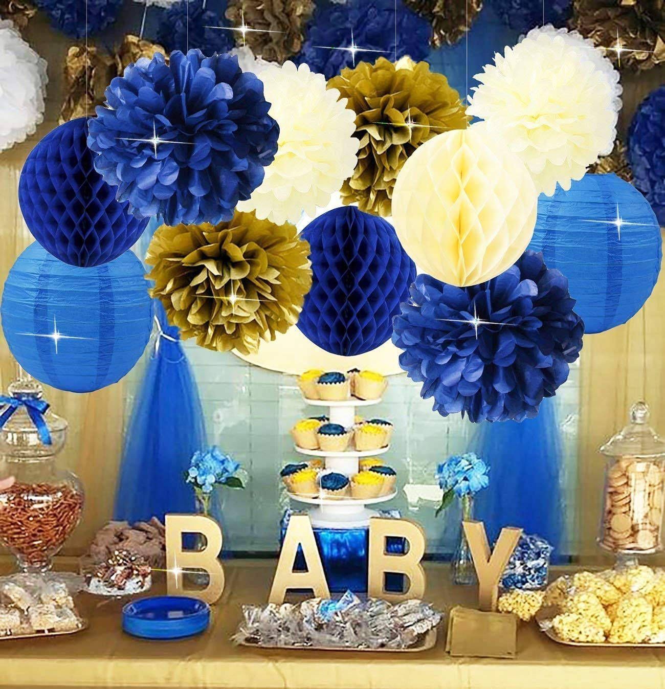 Furuix Royal Prince Baby Shower Decorations Navy Cream Gold Bridal Shower Decorations Tissue Pom Pom Flower Navy Honeycomb Balls for 1st Birthday Boy Prince Party Supplies Birthday Party Decorations