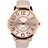 LINSUNG Unisex Big Numerals Rhinestone Faux Leather Wrist Watch