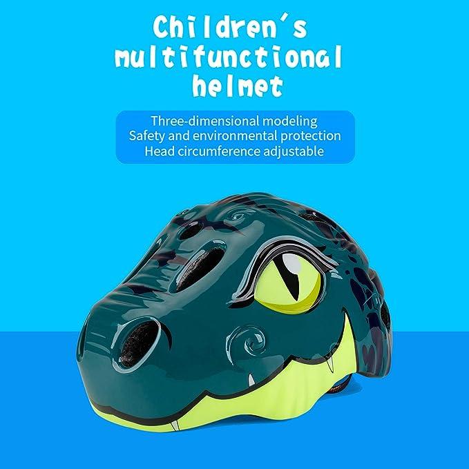 Shinmax Kids Helmet 3D Cartoon Dinosaur CPC/&CE Certified Adjustable Red