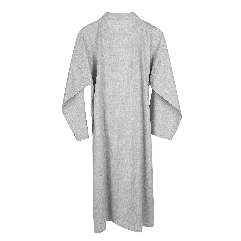 Men Women Kimono Bathrobe Cotton Dressing Gown Summer Lightweight Loose Comfy Sleepwear Nightdress with Pocket Pure Colour Bath Robe Wrap Beach Swimwear Bikini Cover Up