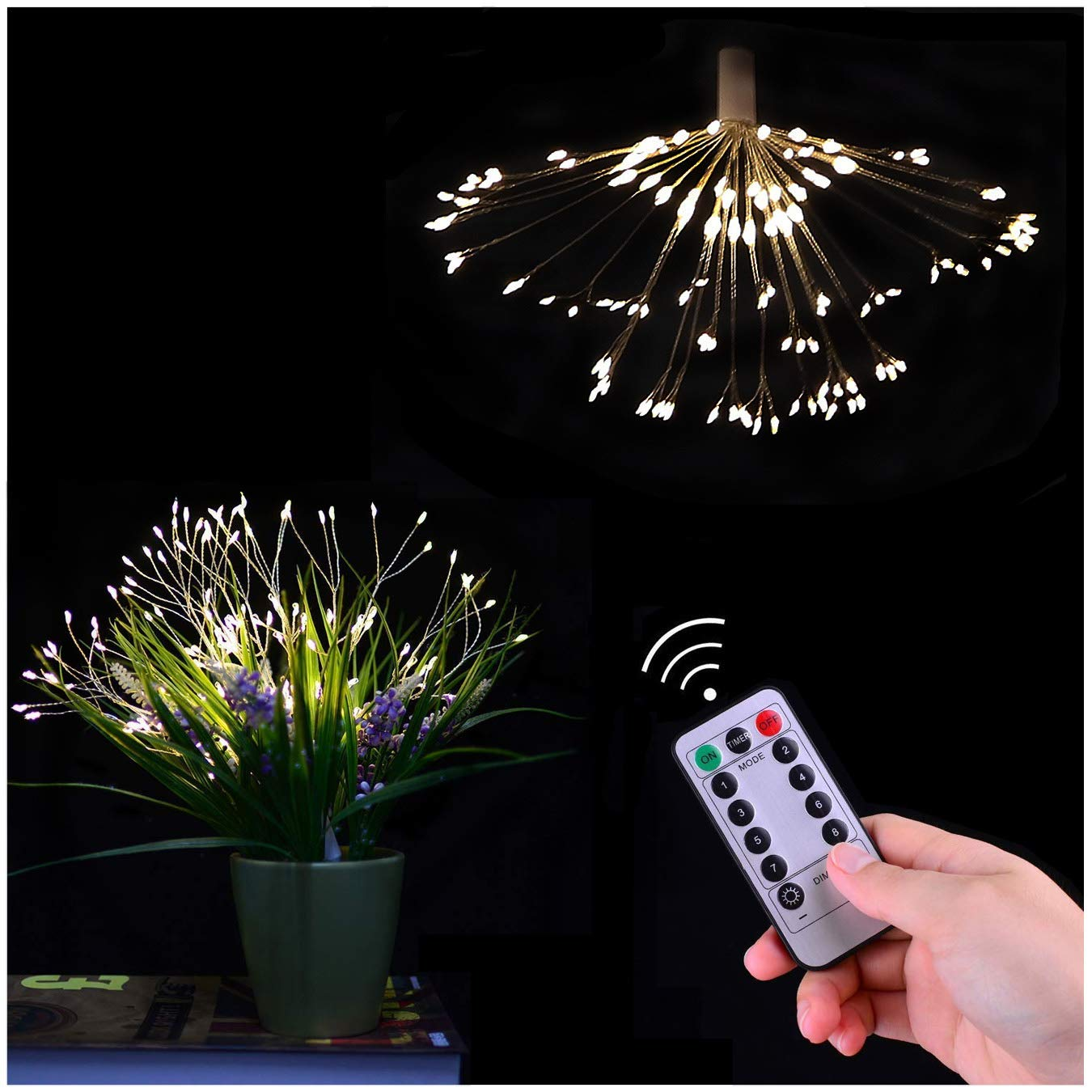 Prosense LED Branch String Lights, 198 LEDs 8 Modes Plug in Decorative Branch Fairy Lights for Parlor Bedroom Wedding Birthday Party Christmas Tree Deco (Warm White)