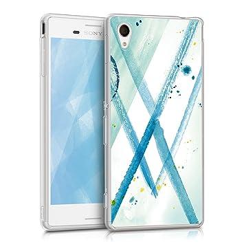 kwmobile Funda para Sony Xperia M4 Aqua - Carcasa de [TPU] para móvil y diseño de Acuarela en [Menta/Azul/Blanco]