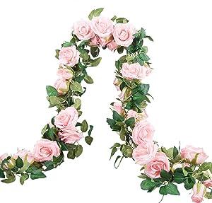 Meiliy 2 Pack 6.6 FT Fake Rose Vine Flowers Plants Artificial Flower Home Hotel Office Wedding Party Garden Craft Art Decor (Blush Pink Rose Garland 2 PCS)…