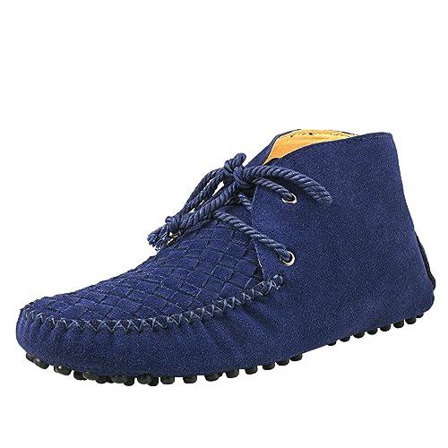 Shenduo Zapatos Casuales - Mocasines con Cordones de Moda de Cordones para Hombre D7358 Azul 39: Amazon.es: Zapatos y complementos