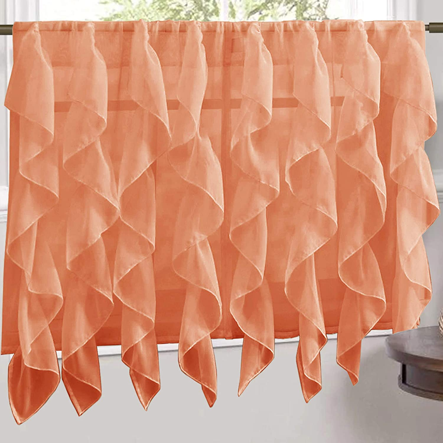 """Sweet Home Collection Veritcal Kitchen Curtain Sheer Cascading Ruffle Waterfall Window Treatment - Choice of Valance, 24"""" or 36"""" Teir, and Kit Tier Pair Only, Spice"""