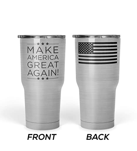 8585a94cc9d We The People - President Donald Trump Make America Great Again Mug -  Stainless Steel Travel Mug with American Flag - 30 oz Insulated Tumbler -  MAGA ...