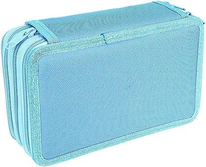ZUMUii Estuche de 3 Compartimentos con Capacidad Enorme para lápices Oxford, Estuche Organizador para lápices de Acuarela,Bolsa de cosméticos, Bolsa para Adolescentes Estudiantes Azul: Amazon.es: Belleza
