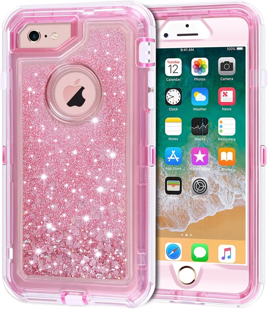 "iPhone 6S Case, iPhone 6 Case, Anuck 3 in 1 Hybrid Heavy Duty Defender Case Sparkly Floating Liquid Glitter Protective Hard Shell Shockproof TPU Cover for Apple iPhone 6 /iPhone 6S 4.7"" - Pink"