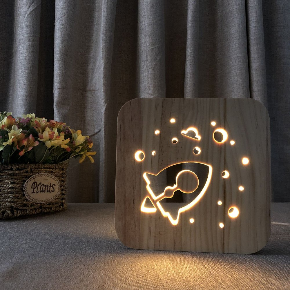 Night Light for Kids Rocket Wooden 3D Lamp Creative wooden lights simple decorative lights 3D wood carving pattern LED Night Light for Desk Table with USB Powered Home Decoration Best Gift for Kids