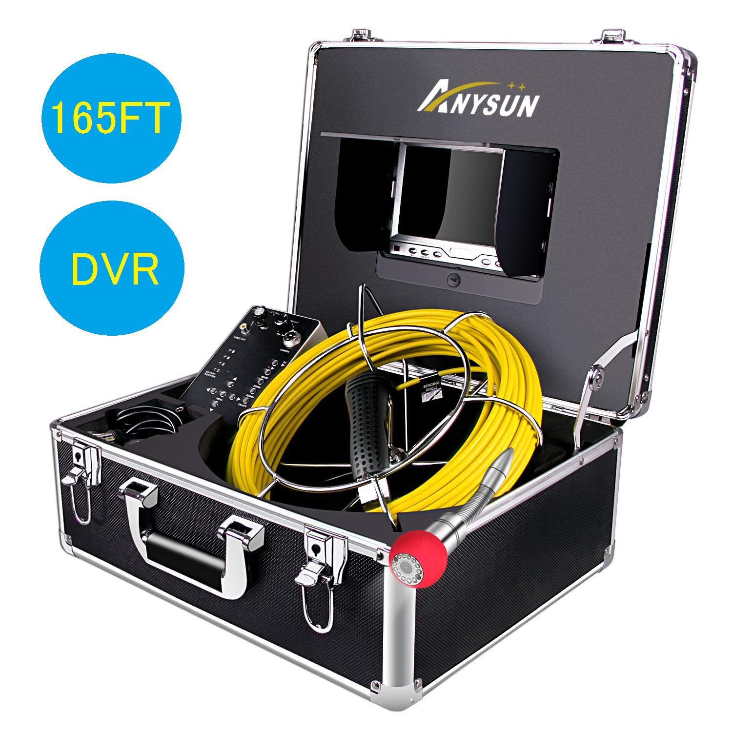 Anysun 20M Pipeline Drain Sewer Industrial Endoscope Video Plumbing System with IP68 Waterproof with 7 Inch LCD Monitor 1000TVL Sony CCD Pipe Inspection Camera