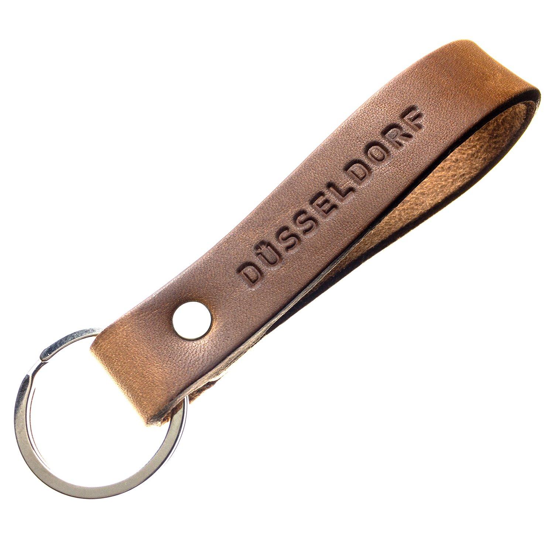 Schlüsselanhänger mit Botschaft aus pflanzlich gegerbtem Leder Handmade in Germany mit Gravur/Prägung (ALPHATIER Natur) 211218013598035