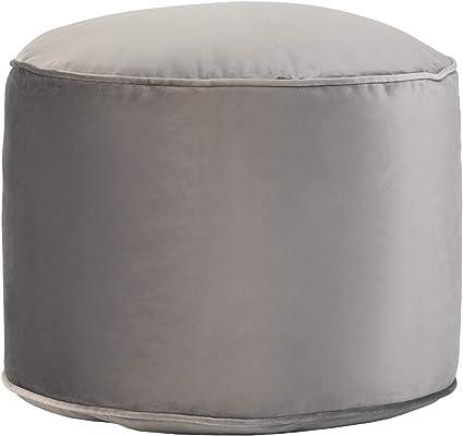 Loft 25 Premium Round Velvet BeanBag Footstool Indoor Home Living Room Filled Pouffe Bean Bag Black Durable /& Comfortable Ergonomic Design for Support