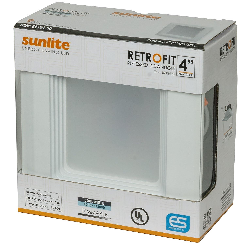 60 Equivalent Base Medium RDL 4 inch Square Retrofit Downlight Light Fixture Sunlite LFX//RDL//4S//9W//DIM//40K//6PK Led 9W E26 110/° 4000K COOL White Light 6 Pack -P