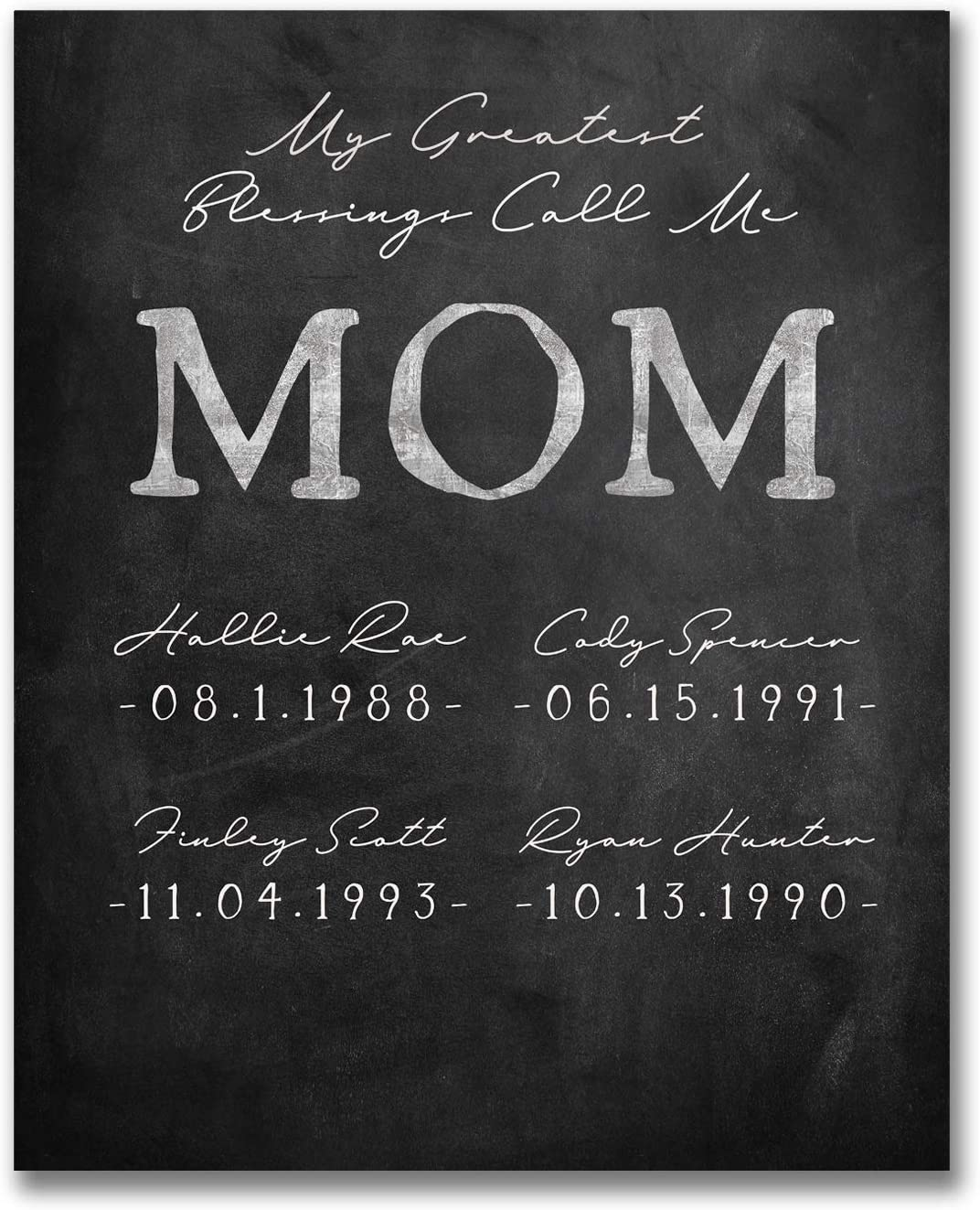 """Personalized Sign With Names and Birthdays 11x14 Block Mount, Chalkboard My Greatest Blessings Call Me /""""Mom/"""""""